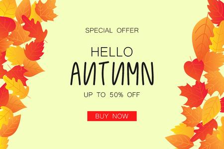 Mise en page de fond de vente automne décorer avec des feuilles pour faire du shopping Illustration vectorielle