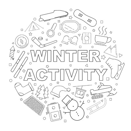 Winter activity background from line icon. Linear vector pattern. Vector illustration