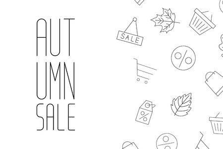 Autumn sale background layout decorate with leaves for shopping Vector Illustration