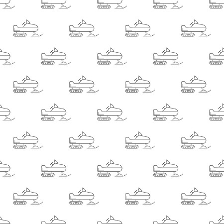 Snowmobile background from line icon. Linear vector pattern. Vector illustration