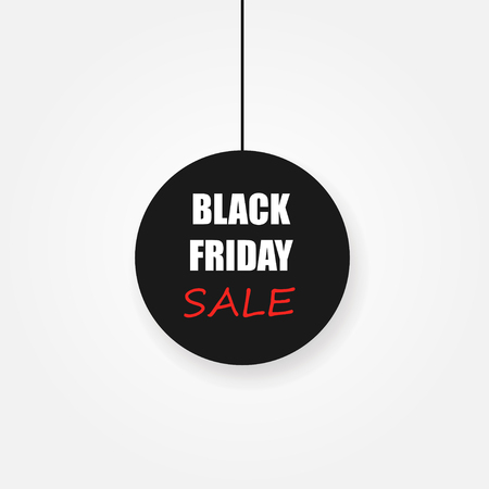 Black Friday sale black tag. Vector illustration