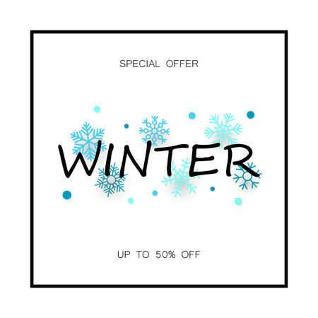 Winter sale banner with snowflakes. Vector illustration