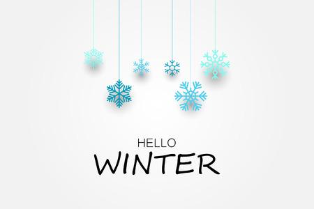 Hallo winter banner met sneeuwvlokken. Vector illustratie