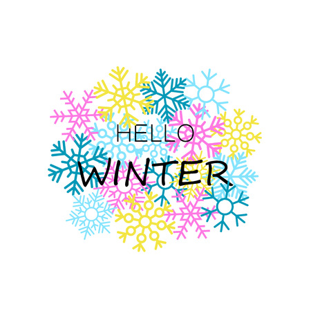 Hello winter banner with colorful snowflakes. Vector illustration