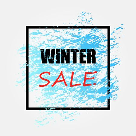 Winter sale banner with brush. Vector illustration