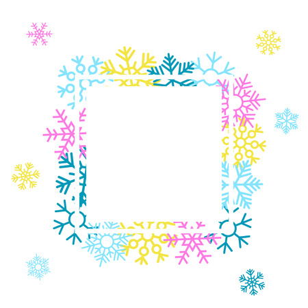 Winter salebackground with colorful snowflakes. Vector illustration