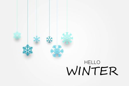 Hello winter banner with snowflakes. Vector illustration