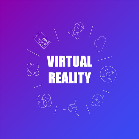 Virtual reality background from line icon. Linear vector pattern. Vector illustration Illustration