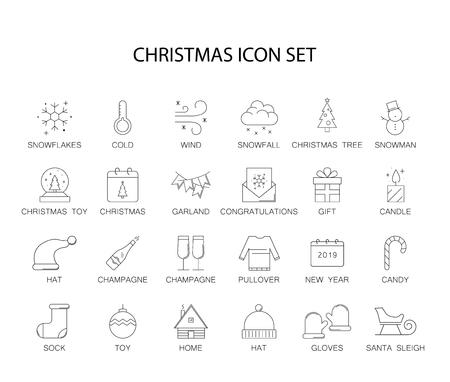 Liniensymbole eingestellt. Weihnachtspaket. Vektorillustration