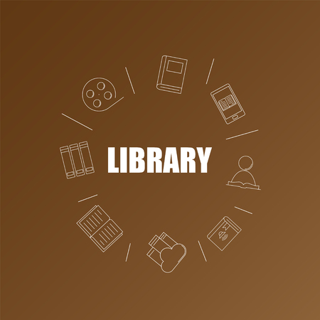 Library background from line icon. Linear vector pattern. Vector illustration