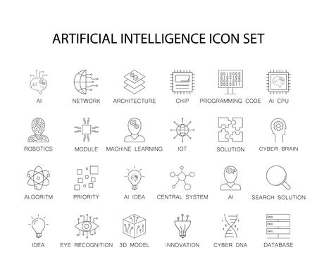 Zestaw ikon linii. Pakiet Sztuczna Inteligencja. Ilustracja wektorowa