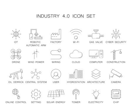 Industry 4.0 icon set. Line icon vector Illustration