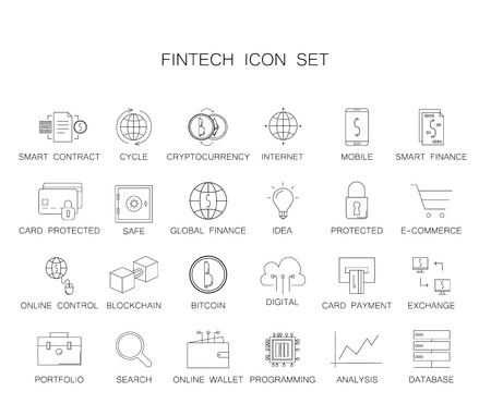 Line icons set. Fintech pack. Vector illustration 写真素材 - 108540265