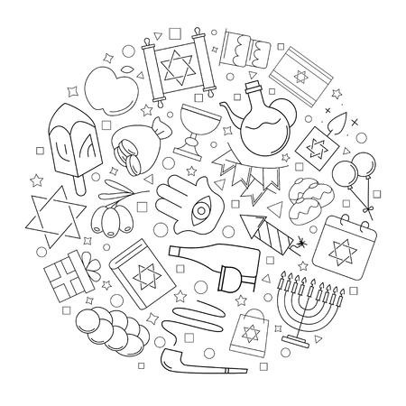 Hanukkah circle background from line icon. Linear vector pattern. Vector illustration Illustration