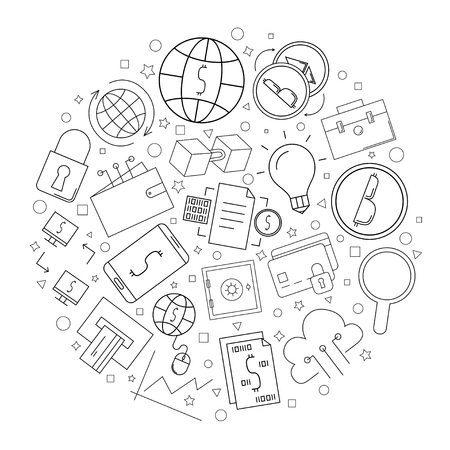 Fintech circle background from line icon. Linear vector pattern. Vector illustration