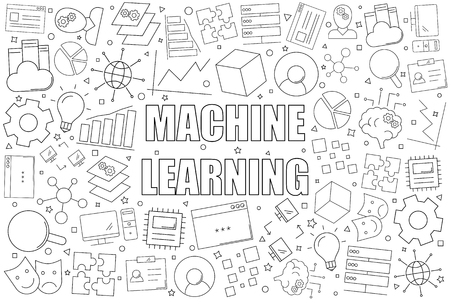 Machine learning background from line icon. Linear   pattern illustration