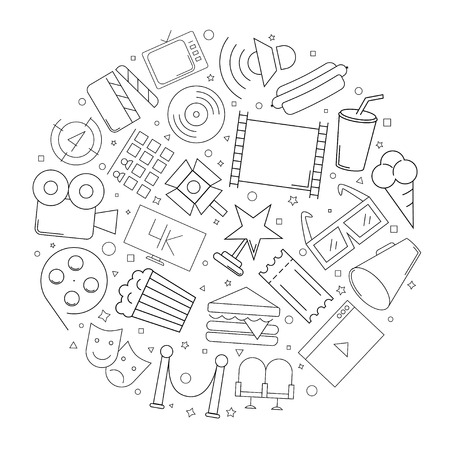 Cinema circle background from line icon. Linear vector pattern. Vector illustration