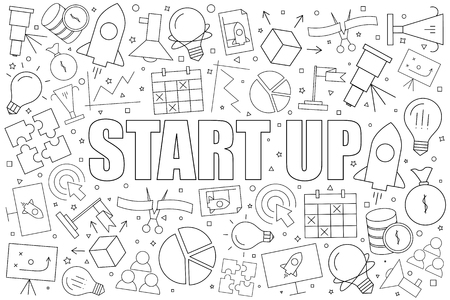 Start up background from line icon. Linear vector pattern. Vector illustration Illustration