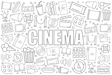 Cinema background from line icon. Linear vector pattern. Vector illustration Stock Illustratie