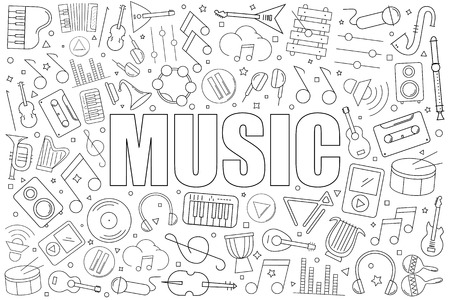 Music from line icon with word. Linear vector pattern. Vector illustration