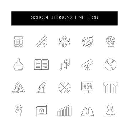 Line icons set. School lessons pack. Vector illustration