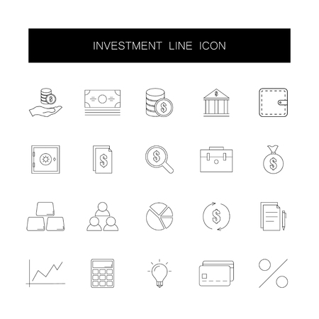 Line icons set. Investment pack. Vector illustration  イラスト・ベクター素材