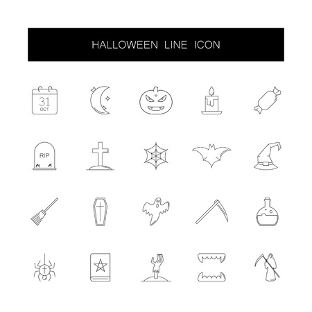 Line icons set. Halloween pack. Vector illustration