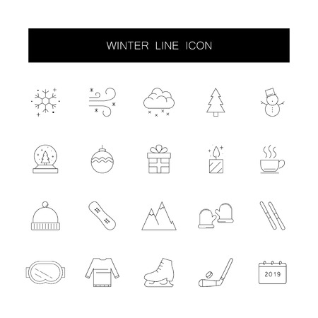 Line icons set. Winter pack. Vector illustration