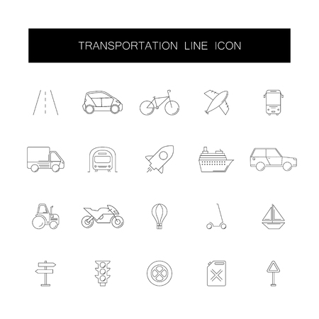 Line icons set. Transportation pack. Vector illustration Vectores