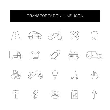 Line icons set. Transportation pack. Vector illustration Illustration
