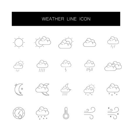 Line icons set. Weather pack. Vector illustration 일러스트