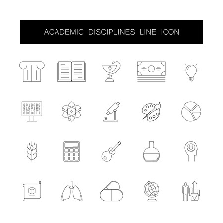 Line icons set. Academic disciplines pack. Vector illustration