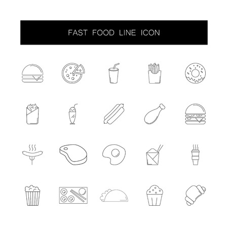 Line icons set. Fast food pack. Vector illustration