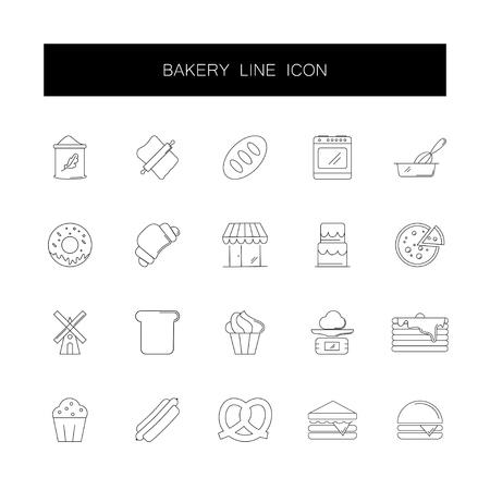 Ensemble d'icônes de ligne. Paquet de boulangerie. Illustration vectorielle Vecteurs