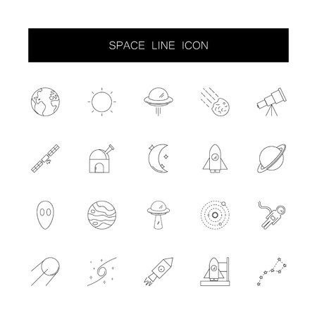 Line icons set. Space pack. Vector illustration