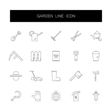 Line icons set. Garden pack. Vector illustration 写真素材 - 111439219