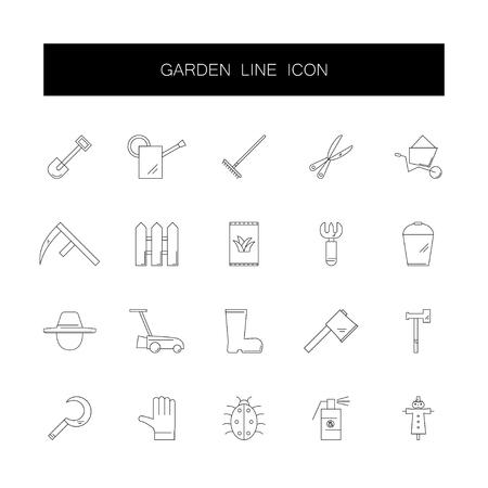 Line icons set. Garden pack. Vector illustration