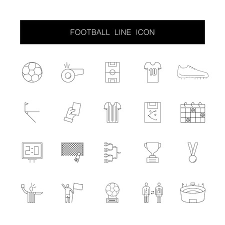 Line icons set. Football pack. Vector illustration Иллюстрация