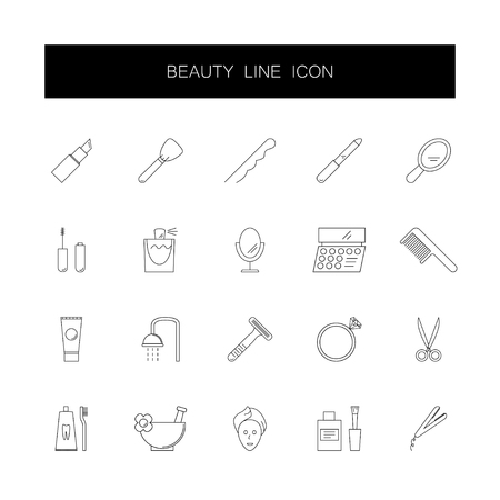 Line icons set. Beauty pack. Vector illustration