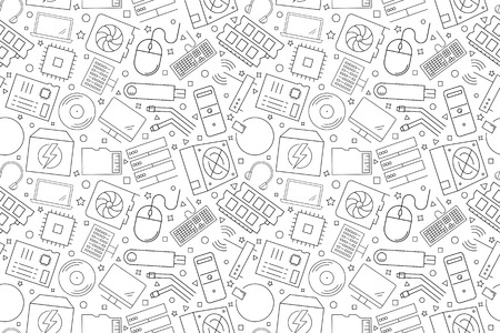 Computer component background from line icon. Linear vector pattern. Vector illustration Illustration