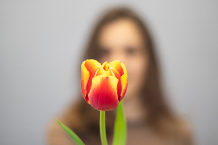 Beautiful girl in the brown dress with tulip in hands on a light background. Standard-Bild