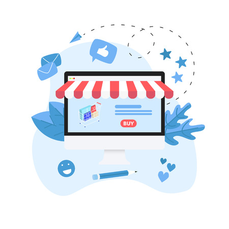 Online shopping concept with Online shopping concept with desktop and shopping basket.