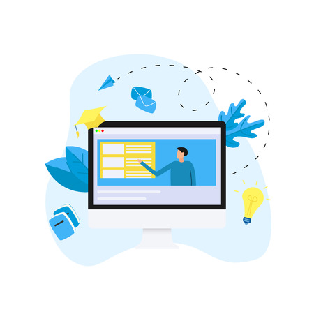 Online education or web course in desktop monitor with distance teacher. E-learning concept.