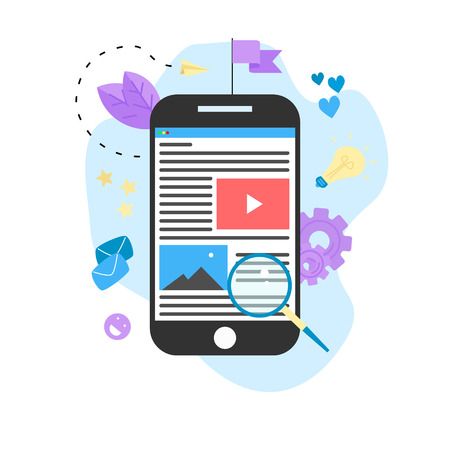 Content Marketing, Blogging and SMM concept. Articles and media materials on smartphone.. Stock Vector - 119536572