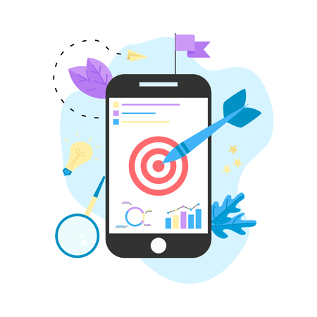 Target with an arrow on smartphone, hit the target, goal achievement. Business concept vector illustration.