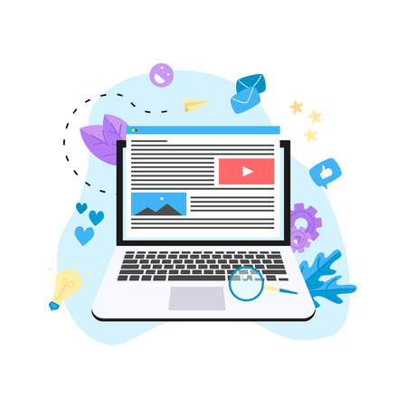 Content Marketing, Blogging and SMM concept. Articles and media materials on laptop..