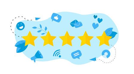 Five star customer rating. Concept of feedback. Vektorové ilustrace