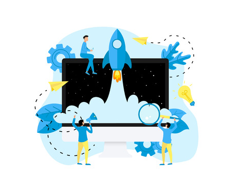 Concept of startup launch of a new online business. Stok Fotoğraf - 121194560