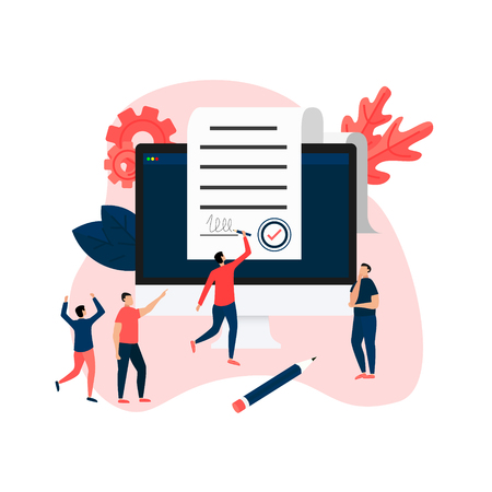 Online electronic smart contract document on desktop, paper document, signature on computer screen. vector illustration. Business concept.