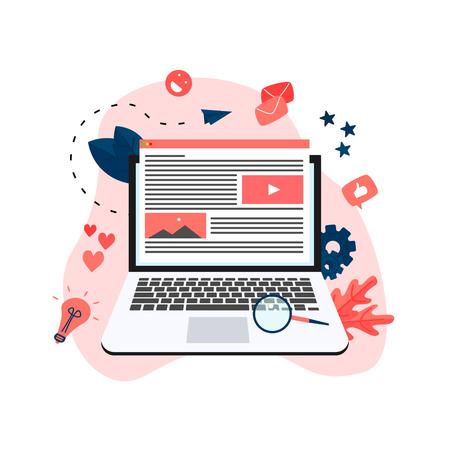 Concepto de marketing de contenidos, blogs y SMM. Artículos y materiales de prensa.